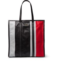 Balenciaga Bazaar Arena Striped Creased Leather Tote Bag Black