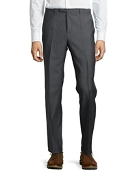 Hugo Boss Wool Flat Front Trousers Charcoal