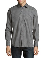 Report Collection Printed Cotton Button Down Shirt Charcoal