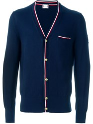 Moncler Gamme Bleu Striped Trim Cardigan Blue