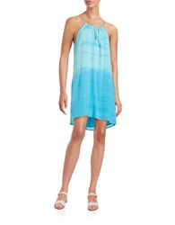 Red Haute Tie Dye Halter Dress Blue