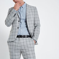 River Island Grey Check Stretch Skinny Fit Suit Jacket