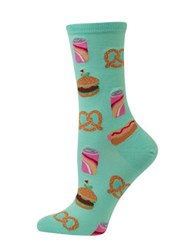 Hot Sox Street Food Printed Cotton Blend Socks Mint