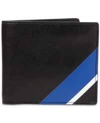 Polo Ralph Lauren Men's Striped Leather Wallet Black Multi