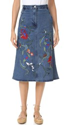 Tibi Marisol Embroidered Front Slit Denim Skirt Vintage Denim