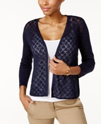 Charter Club Diamond Stitch Open Front Cardigan Only At Macy's Intrepid Blue