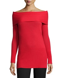 Halston Cashmere Off The Shoulder Long Sleeve Tunic Lipstick