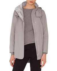 Akris Punto Zip Front Detachable Hood Nylon Parka Jacket Silver