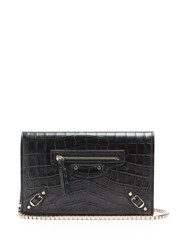 Balenciaga Classic Chain Crocodile Effect Cross Body Bag Black