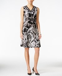 Jm Collection Petite Sleeveless V Neck Dress Only At Macy's Black Fallin Paisley