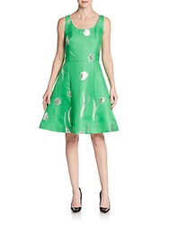 Oscar De La Renta Metallic Embroidered Silk Fit And Flare Dress Clover