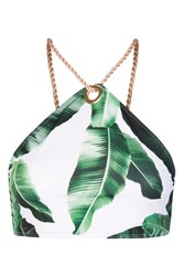 Jaded London Palm Leaf Print Eyelet Bikini Top By Multi