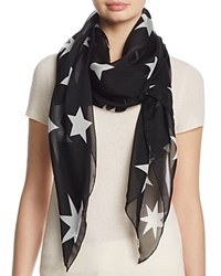 Helene Berman Large Stars Silk Scarf Black White