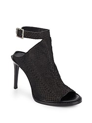 Helmut Lang Reptile Embossed Leather Ankle Strap Pumps