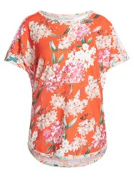 Oui Floral Print Lace T Shirt Red Rose