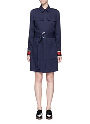 Victoria Beckham Ribbon Trim Cuff Shirt Dress Blue