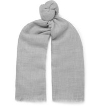 Johnstons Of Elgin Fringed Cashmere Scarf Gray