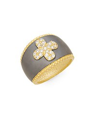 Freida Rothman Pave Clover Dome Ring Gold Silver