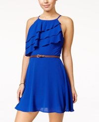 Speechless Juniors' Ruffled Fit And Flare Dress Royal Blue