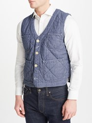 John Lewis And Co. Quilted Chambray Waistcoat Blue