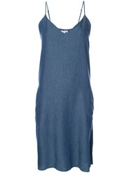 Gold Hawk V Neck Camisole Dress Women Lyocell Linen Flax S Blue