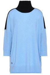 Amanda Wakeley Cashmere And Wool Blend Turtleneck Sweater Sky Blue