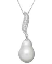 Belle De Mer Pearl Cultured Freshwater Pearl 11Mm And Diamond Accent Baroque Pendant Necklace In 14K White Gold