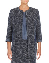 Ivanka Trump Tweed Open Front Jacket Navy Ivory