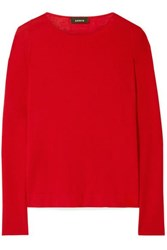 Akris Cashmere And Silk Blend Sweater Red