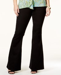 Michael Kors Plus Size Selma White Wash Flared Jeans Black