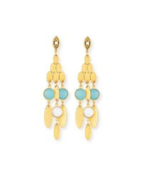 Sequin Hammered Golden Semiprecious Chandelier Earrings Yellow Pattern