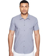 John Varvatos Mayfiled Slim Fit Sport Shirt With Cuffed Short Sleeves W443t1b Steel Blue Men's Clothing