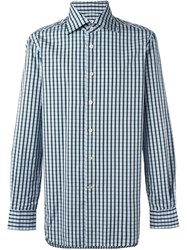 Kiton Checked Button Down Shirt Green