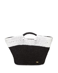 Capelli Of New York Cappelli Large Straw Market Tote Bag Black White