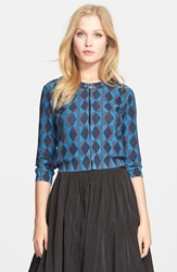 Tracy Reese Print Cotton Crop Cardigan Navy Moonshine Geo