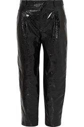 Givenchy Glossed Textured Leather Tapered Pants Black