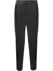 Lanvin Trousers With Satin Stripe Viscose Wool Black