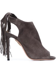 Aquazzura Fringed Sandals Grey