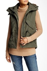 S13 Nyc Faux Fur Trim Trapper Vest Green