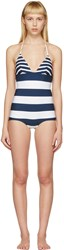 Dolce And Gabbana White Navy Striped Triangle Swimsuit