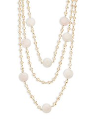 Saks Fifth Avenue Crystal Solid Fill Multi Strand Necklace Gold