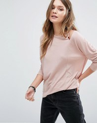 New Look Cut Out Shoulder Long Sleeve Top Mid Pink