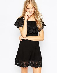 Max C Bardot Frill Mini Beach Dress Black