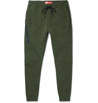 Nike Tapered Cotton Blend Tech Fleece Sweatpants Green
