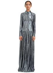 Lanvin Long Metallic Lurex Shirt Dress Black