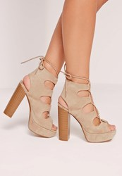 Missguided Lace Up Platform Heeled Sandals Nude Grey