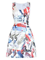 Prabal Gurung Technical Satin Marble Print Dress