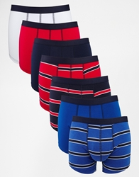 Asos 7 Pack Trunks With Bold Stripe Multi