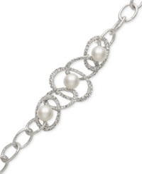 Belle De Mer Bridal Cultured Freshwater Pearl 10Mm And Crystal Link Bracelet In Silver Plated Brass