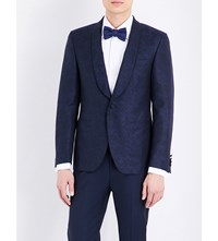 Canali Floral Jacquard Wool And Cotton Jacket Navy